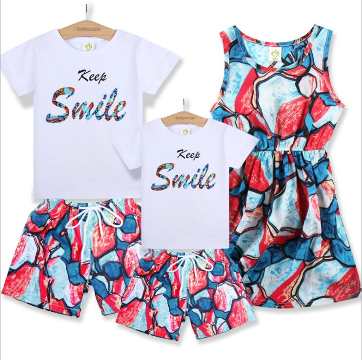 Datousha 2018 hot sale family matching outfits fashion mather daughter dresses 100%cotton father son matching Short sleeve suit