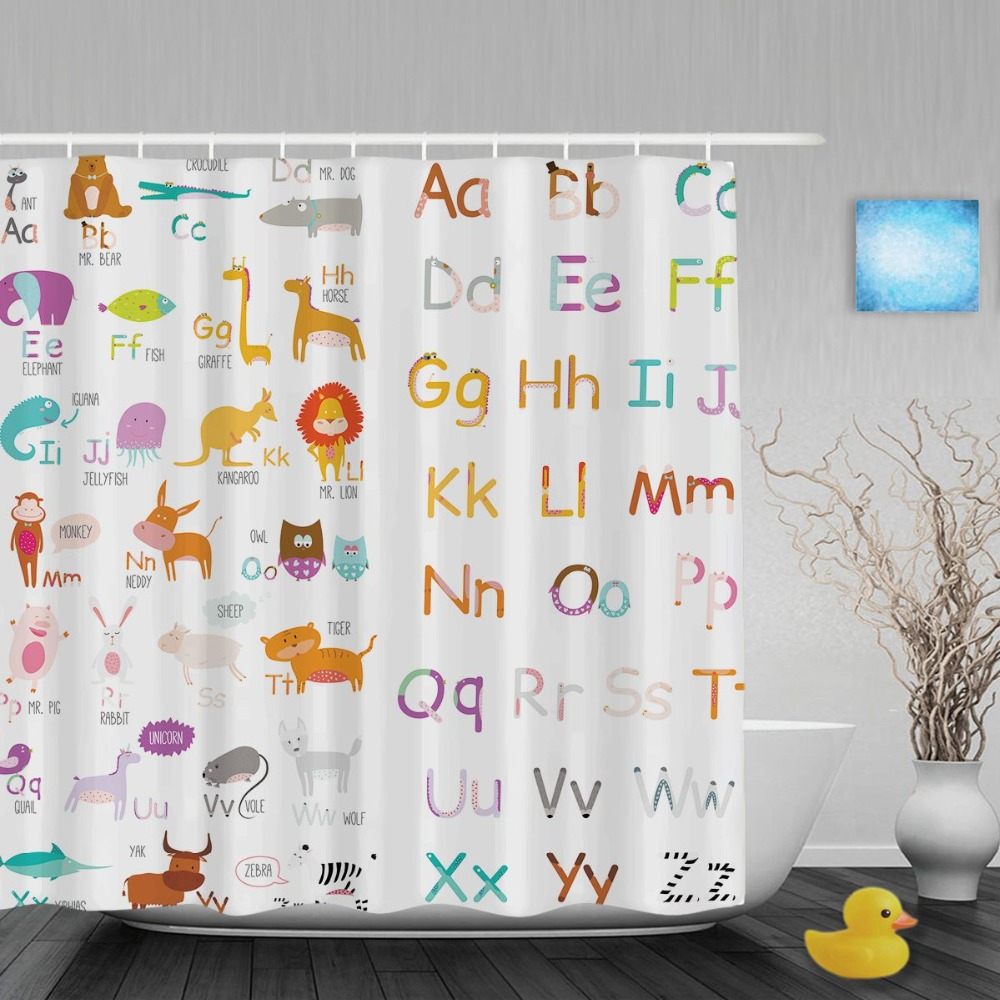 Educational Alphabet Letters Kids Shower Cutains Cute Animals Decor Baby  Bathroom Curtains Polyester Waterproof Fabric With Hook