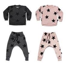 2018 Новый Осень Nununu Комплекты одежды дети звезда Толстовка для маленьких мальчиков девочек французский Терри Star мешковатые штаны детей Костюмы