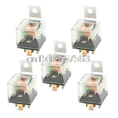 цена на DC 24V 40A 1NO+1NC SPDT 5 Pin Male Plug Green Pilot Lamp Auto Car Relay 5 Pcs
