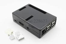 Latest 100% Pi Box ABS Plastic Black case for Raspberry Pi model b plus & Raspberry Pi 2 + 3 pcs pure aluminum heat sink