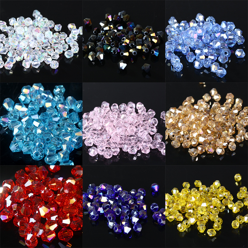 Beads Bicone Jewelry-Making Glass-Crystals Faceted Fantas 1000pcs AB Loose 4mm 5301 U-Pick-Color