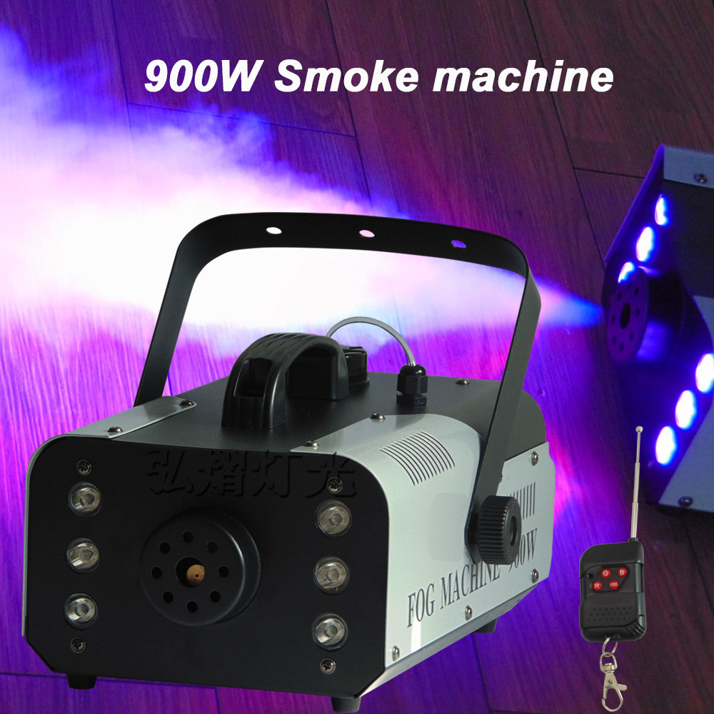 900W RGB 3in1 (6pcs LED) Smoke Machine Remote or Wire Control /DMX512 Stage Fog Machine 900w 1l fog machine remote wire control fogger smoke machine dj bar party show stage machine