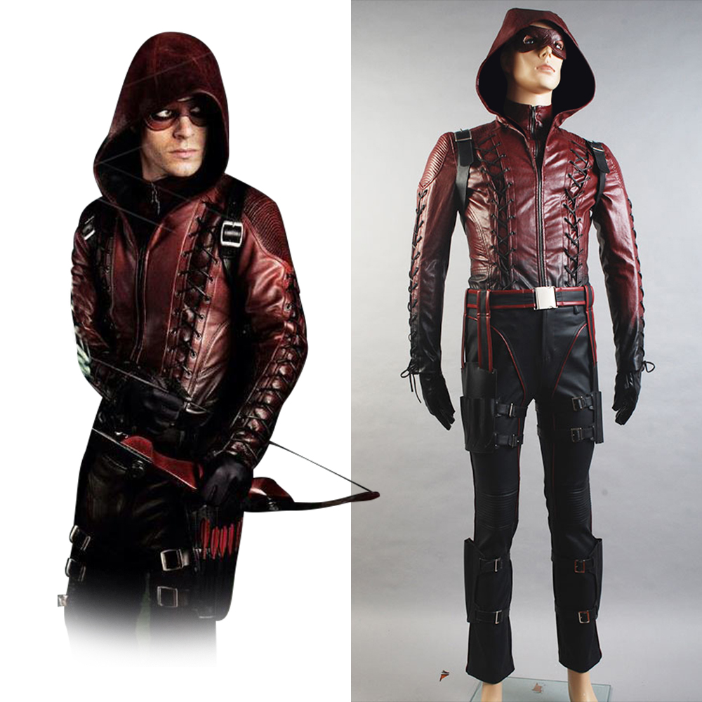 Green Arrow Season 3 Cosplay Costume Red Arrow Roy Harper Arsenal Cosplay Costume Adult Men Red Leather Suit Mask Halloween