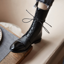 INS HOT women Mid-calf boots Genuine Leather toe 22-25 cm feet length Cowhide stitching patent leather Classic Martin boots cheap vangull Cow Leather Fits true to size take your normal size Round Toe Spring Autumn Lace-Up Solid Hoof Heels Motorcycle boots