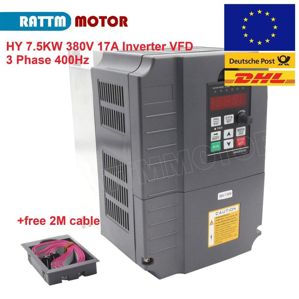 De L'UE Livraison! 7.5KW 380VAC Fréquence Variable VFD Onduleur 3 phase 400Hz Broche Moteur régulateur de vitesse Fréquence Conveter
