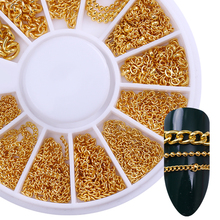 3D Metal Nail Art Decoration Gold Chain Beads Line Multi-size Snake Bone DIY Manicure in Wheel 1 Box