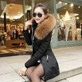 Mulheres jaqueta de inverno longos e grossos 90% de algodão Para Baixo para baixo mulheres jaqueta 2017 sólidos magro manter quente para baixo casaco de 5 cores 1000 unidades populacionais