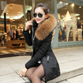 winter jacket women long thick 90% Down cotton down jacket women 2017 solid slim keep warm down coat 5 colors 1000 stocks