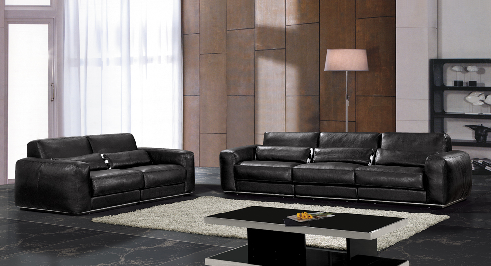 hot sale modern genuine leather living room sofa set furniture black full leather feather inside
