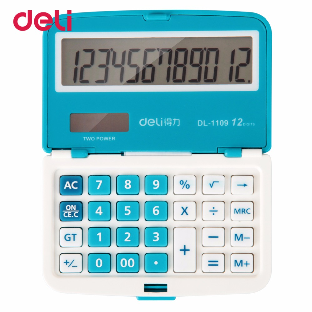 Deli 12 Digit Solar Folding Mini Ultrathin calculator Dual Power Supply Office Electronic Handheld Pocket Portable Calculator