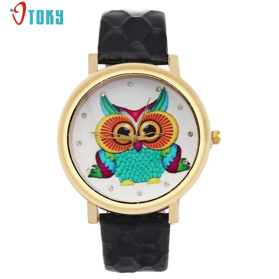 Fashion Watches Women Owl Shoes Pattern PU Leather Band Analog Quartz Vogue Watches Creative Mar20