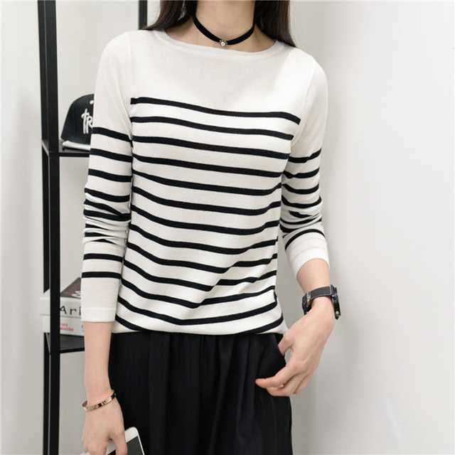 Knitting Sweater Women Fashion Black White Striped Pullover Slash
