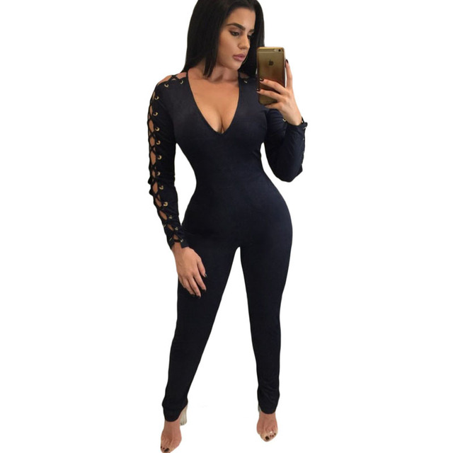 Jumpsuits & Rompers Moda Sexy de Camurça Grommet Mangas Compridas Jumpsuit Sólido Oco Out Skinny Slim Elagant mulheres Bodycon macacão