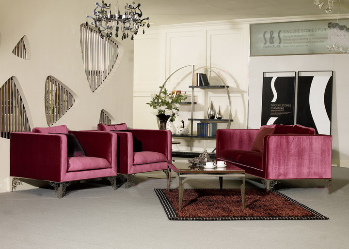 Sofa Velvet-Fabric Living-Room Colorful Modern And Fashion Christmas Simple