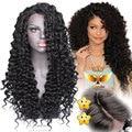 Longa Dianteira Do Laço Sintético Perucas para As Mulheres Negras com Bebé cabelo Encaracolado Resistente Ao Calor Dianteira Do Laço Sintético Perucas para Preto mulheres