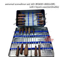 Orthopedics instrument stainless steel screwdriver set with sterilizing box AO&hollow universal screwdriver