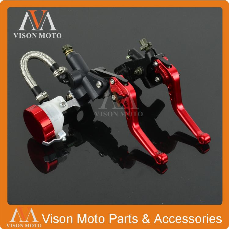 Universal CNC Brake Lever Master Cylinder With Reservoir + Cable Clutch Perch For Honda Street Bike Motorcycle 7/8 22MM universal front clutch brake master cylinder reservoir handle bar lever aluminum one pair 7 8 22mm orange
