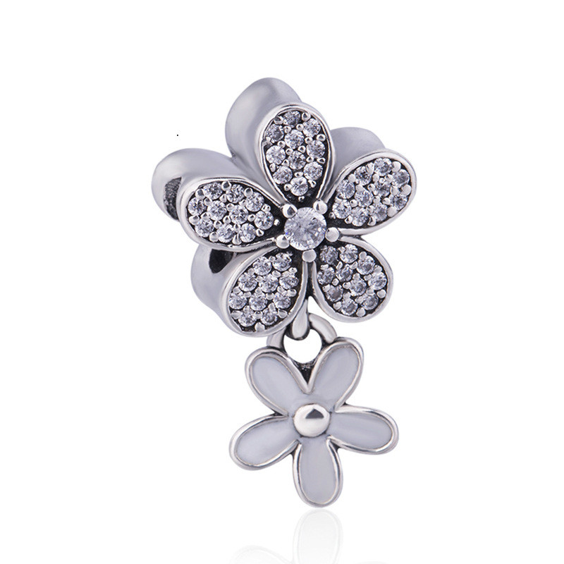 Authentic 925 Sterling Silver Bead Charm Dazzling Daisy Duo With Crystal Pendant Beads Fit Pandora Bracelet & Necklace JewelryAuthentic 925 Sterling Silver Bead Charm Dazzling Daisy Duo With Crystal Pendant Beads Fit Pandora Bracelet & Necklace Jewelry