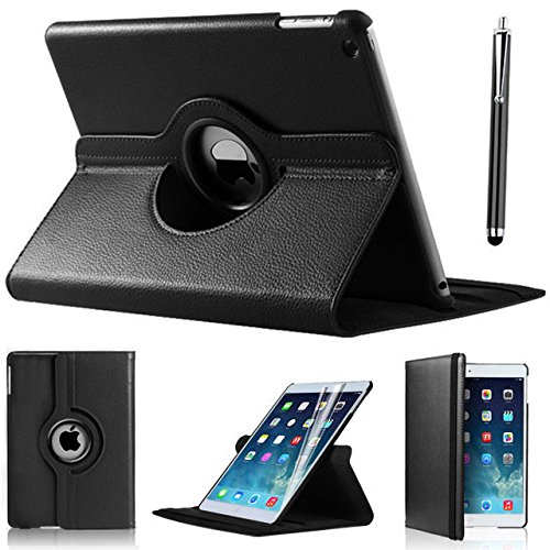Case For Apple New iPad 9.7 2017 2018 360 Rotating Flip Leather Case Cover A1822 A1823 A1893 Stand Funda Capa Cases+Stylus+film transparent tpu silicone back cover for new ipad 2017 model a1822 tablet cover for funda new ipad 2017 capa para stylus pen