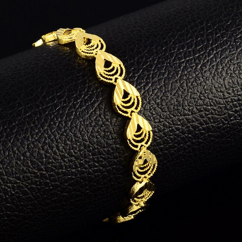 Блестящий Для женщин браслет 24 К Желтая Позолота павлиний хвост браслет для Для женщин  ...