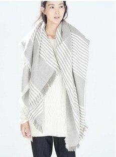 New Designer Oversize Scarf Shawl Gray Striped Warm Scarves Wrap Frayer Blanket Sciarpe Bufandas 150*140