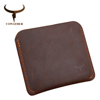 COWATHER Crazy Horse Leather Mens Card ID Holders Cross Style Genuine Leather Wallet Newest Put Cards