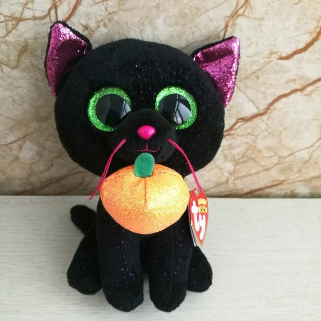 8ccf4435705 Ty beanie boos collection Black Cat with pumpkin plush toy Potion 15 cm 6  inch girl s gift stuffed animal doll kawaii Birthday