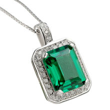 Buque de ee.uu. verde esmeralda Topaz colgante puro collar de plata 925 cadena de moda clásica para mujeres que envían libremente