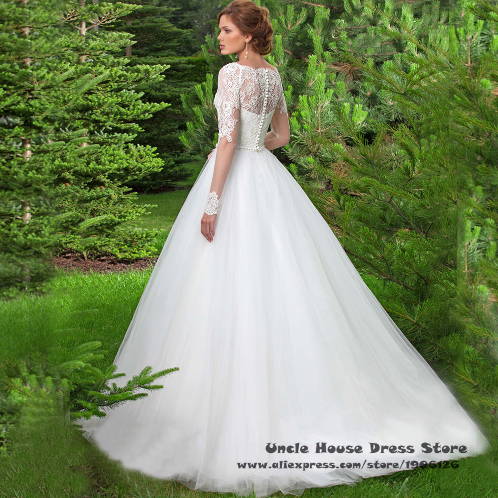 Latest Design White Elegant Long Sleeve Wedding Gowns Lace Bridal ...