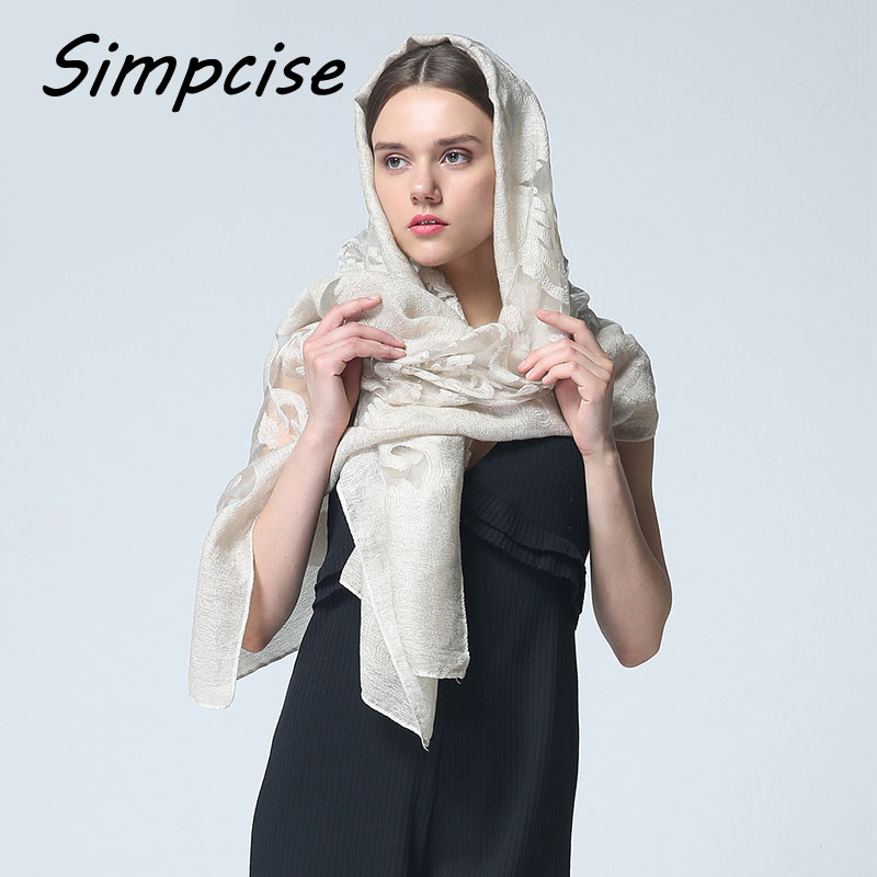 Women Organza Silk Scarves Fashion Scarf for Woman Luxury Brand bandana hijab Foulard Femme Embroidery Scarf S9072