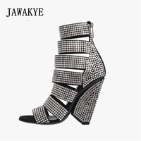 PVC Transparent Wedge Shoes High Heel Open Toe Ankle Boots Summer Narrow Band Gladiator Booties Women