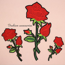 Fabric Embroidered Red Rose Flower Patch Clothes Stickers Bag Sew Iron On Applique DIY Apparel Sewing Clothing Accessories BU77 цена