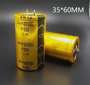 Image 1 - 2 ~ 10 pçs/lote 100 UF 10000 v de Alta potência do Amplificador de áudio Freqüência de Baixo ESR capacitor eletrolítico de filtro tamanho 35*60MM 100v10000UF 20%