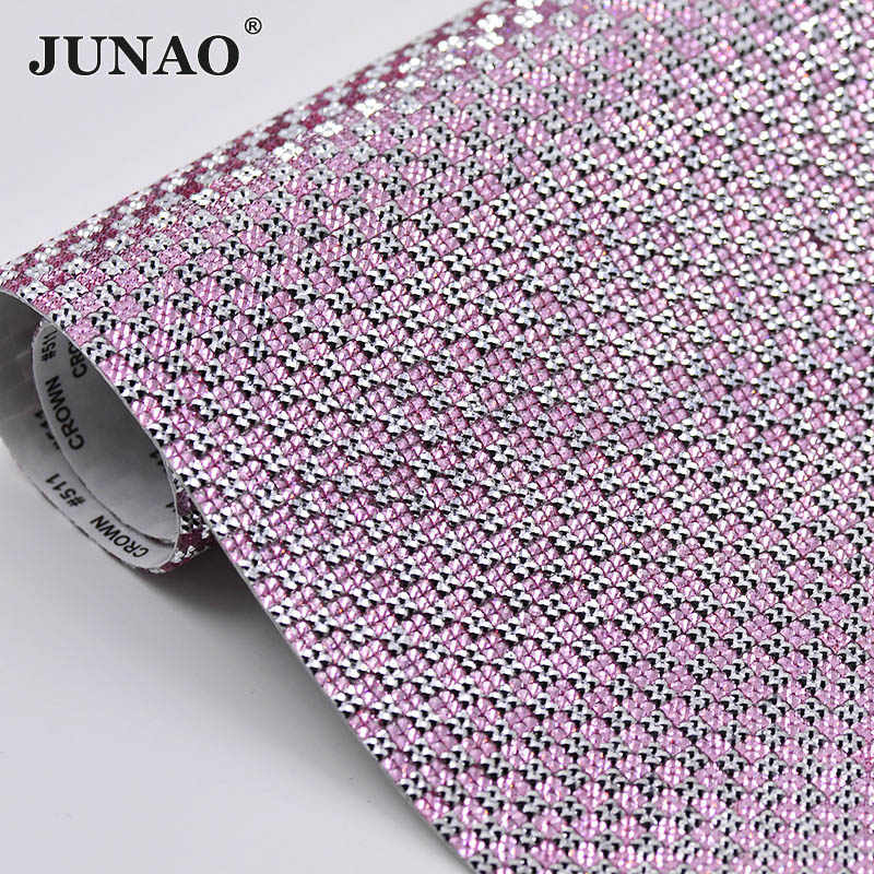 JUNAO 24x40cm Silver Pink Crystal Mesh Rhinestones Sheet Trim Self Adhesive  Resin Crystal Fabric for Jewelry f14abf879421
