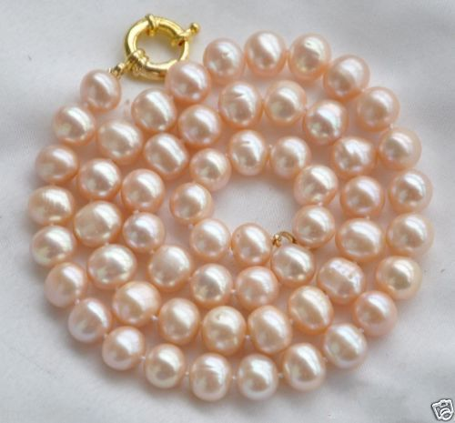 New 8-9mm Natural Pink Freshwater Pearl Necklace 18 >Dongguan girl jewerly Store