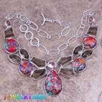 Enjoyable Multicolor Natural Stone Brown Morganite 925 Sterling Silver Grade Necklace L626