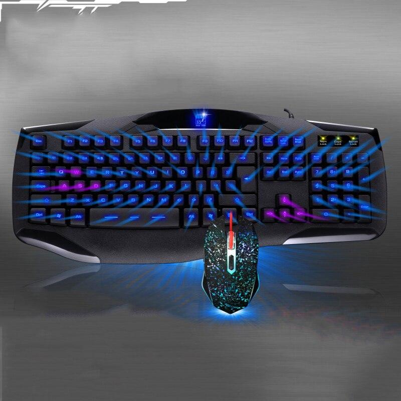 Ensemble de souris filaire clavier de jeu optique avec rétroéclairage étanche clavier souris Combos pour Pc ordinateur de jeu Gamer
