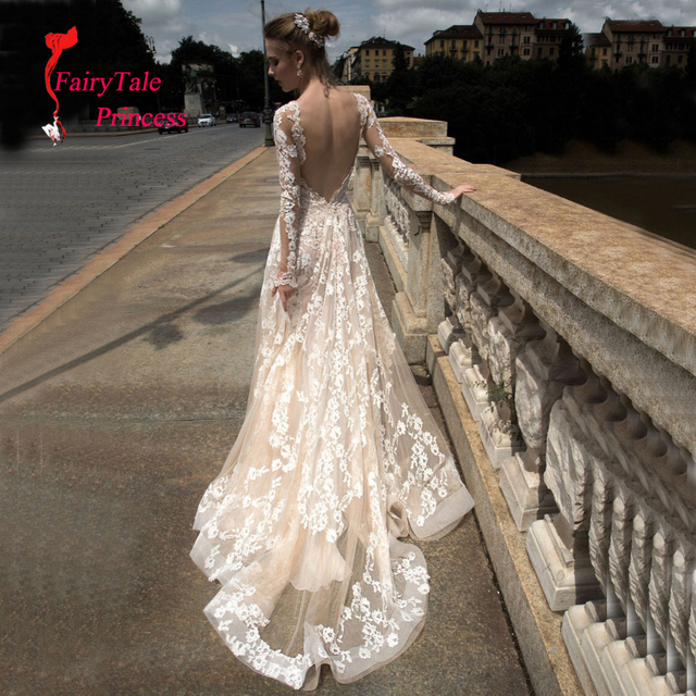 2016 New Special Beading Crystal Vintage Embroidery Lace A line Wedding Dress V-neck Court Train Long Sleeve Vestidos De Novias
