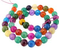 Unique Pearls jewellery Store Round Faceted Multicolor Agate 8mm Gemstone Loose Beads One Full Strand 15 inches LC3 342