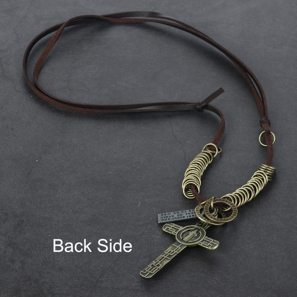 Retro Jesus Cross Necklace St Benedict Medal Pendant Jewelry for Men Women's Long Leather Rope Necklace Beads Chain Gift CN08