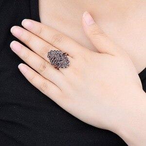 Image 2 - Hutang 6.6ct 가닛 여성의 결혼 반지 천연 붉은 보석 솔리드 925 스털링 실버 플라워 링 파인 우아한 보석 선물