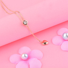 SINLEERY Trendy Tiny Heart Short Pendant Necklace Women Rose Gold Color Round Cubic Zircon Choker Chain Bijoux Xl691