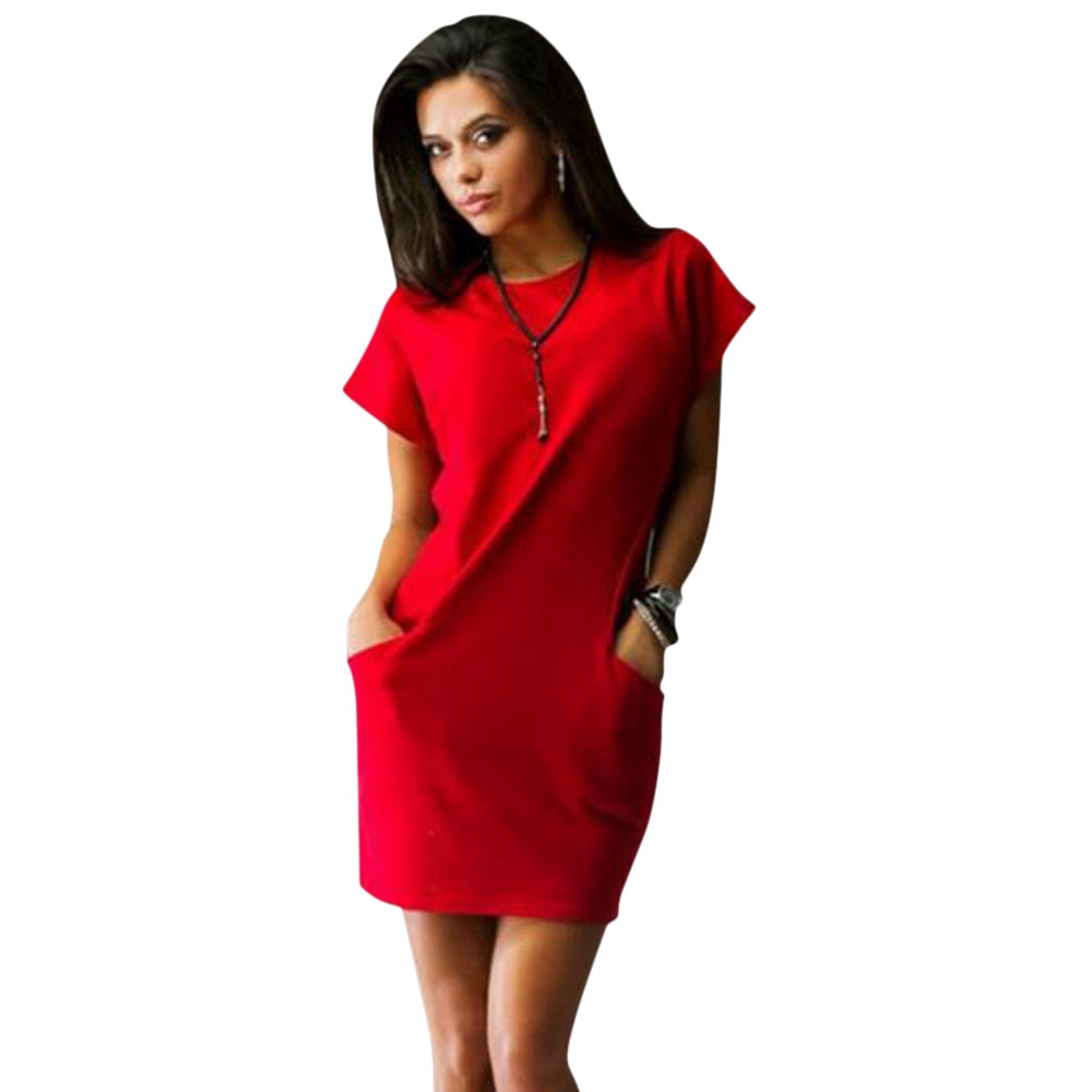VESTLINDA Bodycon Dress Women Sundress Brief Solid Color Slim Sexy Dress O Neck Short Sleeve Mini Shirt Dress Summer Vestidos 5