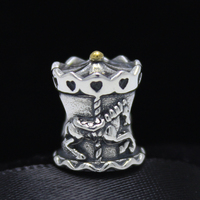 ROCKART Real 925 Sterling Silver Carousel Charm Bead Fit European Brand Bracelets Diy Jewelry Wholesale