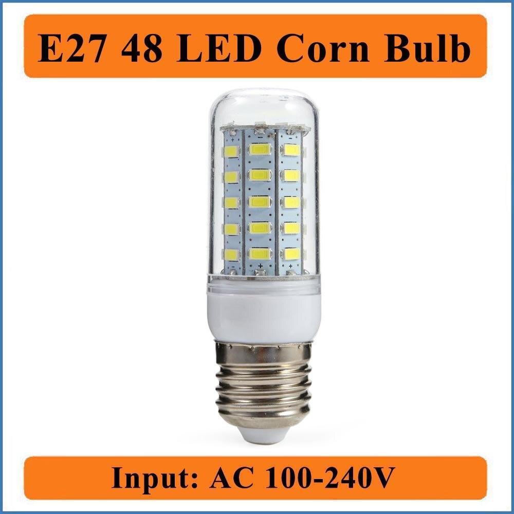 E27 48 LEDs Corn Bulb Light Input AC100-240V 48Leds Bulbs Lamp Corn LED Light Chandelier For Home Lighting LED Bulb