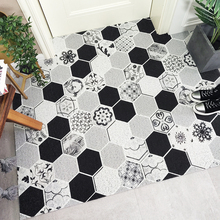 Europe pink geometric marble brick pattern PVC Wire ring door mat Entry carpet Outdoor waterproof Non-slip rug custom made