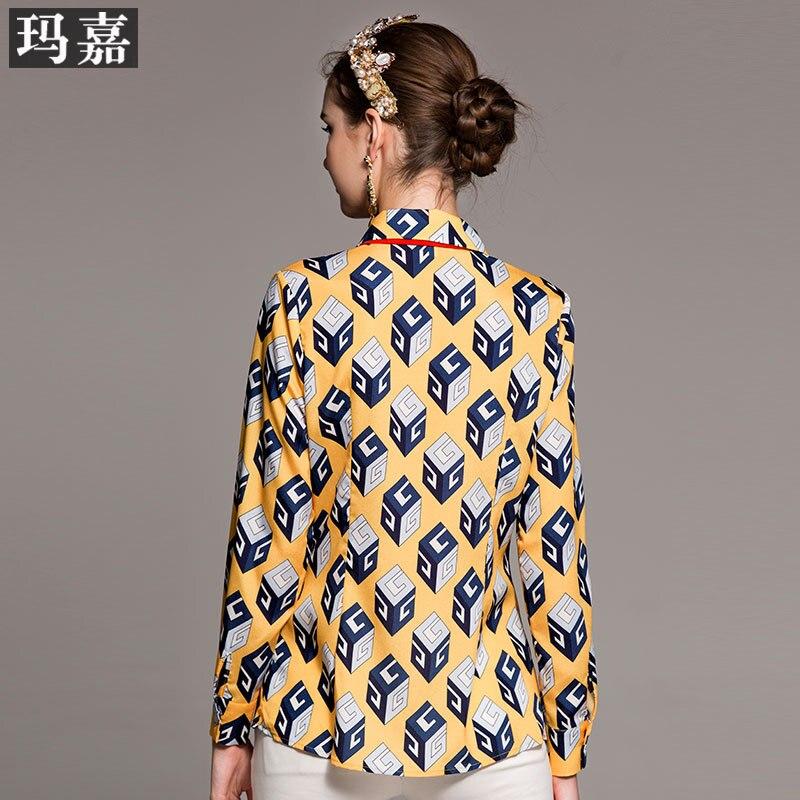 Mode jaune Bloc De Gamme Revers Imprimé Nouveau Haut À Longues Chemise Manches Rouge Ow7xd7qp