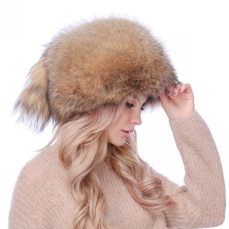 The natural color of Winter Ski Hat female raccoon fur earmuffs thickened fox fur hat survival of local knowledge about management of natural resources