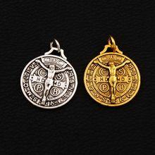 цены Saint Jesus Benedict Patron Medal Crucifix Cross Charms Pendants T1658 24x21mm 7pcs Antique Silver/Gold Pendant